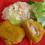 Peixe crocante com arroz cremoso