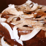 Bolo delicioso de coco com cobertura de chocolate