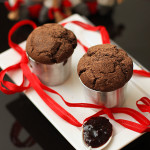 Muffins de chocolate e framboesas