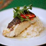 Tilápia grelhada com arroz de coco e palmito