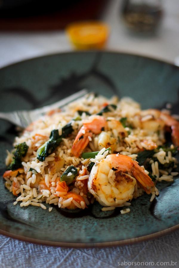 arroz com camarão