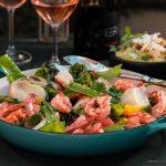 Peixe com camarão e legumes pra receber a primavera