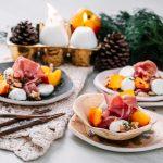 Entrada de Parma, queijo de búfala, nozes e nectarinas